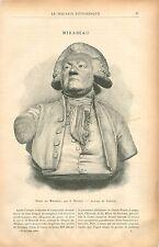 Buste de Mirabeau par Jean-Antoine Houdon Sculpteur  GRAVURE ANTIQUE PRINT 1901