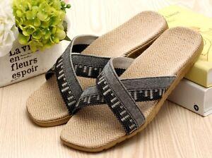 LOHAS Jute Hemp Flax Natural Sandals Slippers Flip Flops Slides - men(MX15bk)