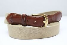 Coach Surcingle Belt Natural Woven Beige Leather Tab 40 Brass Buckle 3880 Used