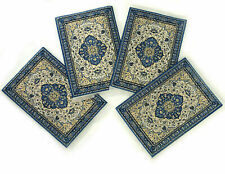 Tapestry Rug Coaster Coasters Blue With Gold  4 Pack