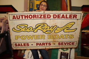 """Large Vintage Sea Ray Power Boats Authorized Dealer Fishing 48"""" Metal Sign"""