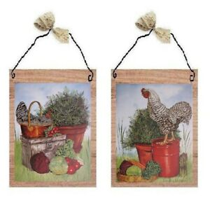 💗 Rooster Pictures Chicken Vegetables Hen Kitchen Wall Hangings Decor Plaques