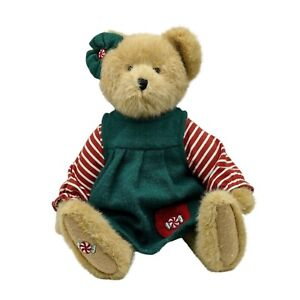 """Boyds Bears Speara Mintly 14"""" Red and Green Dress Candy Bow Christmas Gift Teddy"""