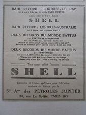 4/1931 PUB SHELL AVIATION ESSENCE PETROLE JUPITER RECORD RAID LONDON LE CAP AD