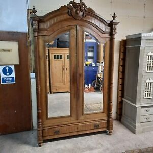 Large Antique Solid Wood French Knockdown Armoire / Wardrobe