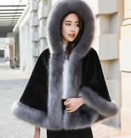 Women's Faux Fur Collar Cape Winter Warm Snow Jacket Hooded Outwear Casual Coat