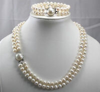 Beautiful 2 Row 7-8MM Freshwater Cultured Pearls Necklace Bracelet Set