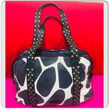 Moschino Cheap and Chic Animals Prints Black Denim Satchel Studded Handbag