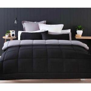 Double Bed Reversible Black Grey Comforter Pillowcase 3pc Set Quilt Duvet