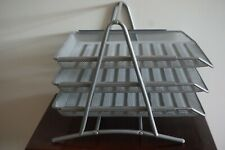 Ikea Silver Mesh 3 Sliding In / Out Tray Document Desk Stand