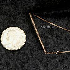 14K Solid Rose Gold 0.2CT Diamond Curved Bar Bracelet Adjustable