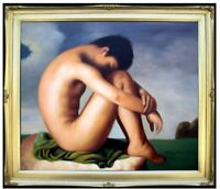 Framed Hand Painted Oil Painting,  Flandrin Hippolyte Young Man Repro, 20x24in