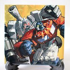 Transformers Art - Ceramic Wall Tile / Coaster - G1 Optimus Prime vs Megatron
