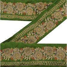 Sanskriti Vintage Deco Sari Border Hand Embroidered Craft Trim Ribbon Green Lace