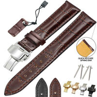 Genuine Leather Stainless Steel Butterfly Clasp Watch Band Strap 18 20 22mm 24mm