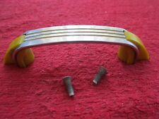 VINTAGE ART DECO CHROME WITH YELLOW LINES CABINET / DOOR PULL HANDLE
