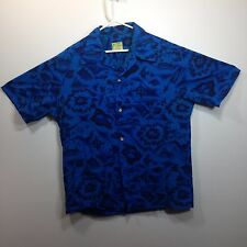 Genuine Hawaiian Aloha Shirt - Ui-Maikai - L - Maps fish boats True Vintage Blue