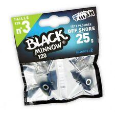 2 Têtes Plombées FIIISH Bleu - Off Shore 25g Black Minnow 120