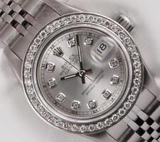 Rolex Lady Datejust Stainless Steel 26mm Watch-Silver Diamond Dial-Diamond Bezel