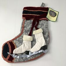 """NEW Hawthorne Hill Handcrafted Patchwork Victorian Skate 17"""" Christmas Stocking"""