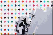 "BANKSY STREET ART *FRAMED* CANVAS PRINT Rat painting hirst 18x12"" stencil -"