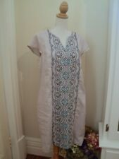 .  blue illusion grey linen embroidered tunic dress L lousy pics, stunning dress