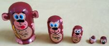Monkeys Russian Traditional Nesting Doll/Hand Made-Micro size/5-pcs Set/New!
