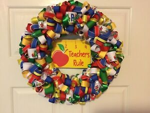 Teacher Ribbon Wreath with hanging plaque