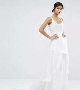 A Star Is Born Maxi Dress With Organza Ruffle White Uk 10 RRP £275