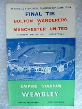 1958 FA CUP FINAL Official Programme BOLTON WANDERERS v MANCHESTER UNITED, ORG*