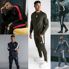 Gym King Mens Fleece Crew Full Tracksuit Set Designer Stripe Sweatshirt Joggers