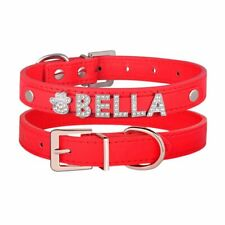Leather Personalised Girl Dog Collar Diamante Name Bling Charms Kitten Cat Puppy