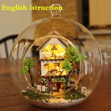 DIY Wooden Dolls Glass Miniature DIY Kit Light Dollhouse- Beach Hut & furniture