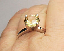 Citrine Pale Yellow 1.66 CT Solitaire Cross Cut 14 K White Gold Ring Size 7