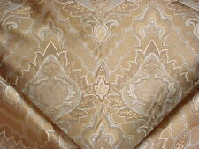 8-1/8Y PIERRE FREY SILVER GOLD FLORAL SCROLL SILK DAMASK UPHOLSTERY FABRIC