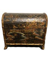 Asian Storage Keepsake Storage Box Home Decor Brown Gold EUC