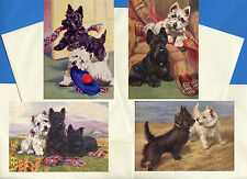 SCOTTISH WESTIE TERRIER 4 VINTAGE STYLE DOG PRINT GREETINGS NOTE CARDS #2