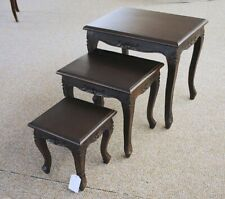 Table Set Side Table Solid Mahogany Louis Style Dark Brown Walnut