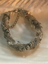 Estate Tiny Gray & Clear Faceted Plastic Beads with Silvertone Metal Balls Braid