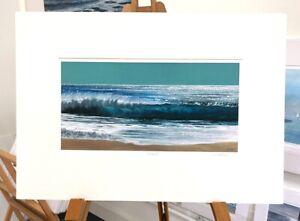 'Enchanted' 50x35cm crashing waves beach turquoise surf sea painting seascape