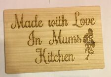 Wooden Chopping Board Laser Engraved Mum Quotes Gift Idea 300x200mm
