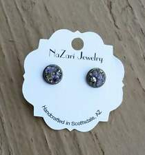 Natural Crushed Amethyst And Pyrite Bronze Stud Earrings