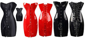 Sexy Corset Dress Satin or Wetlook Dominatrix Steampunk  sizes 4 6 8 10 12  RBM
