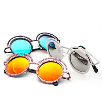 Womens Fashion Mrirror Lens Pearl Encrusted Round Circle Metal Frame Sunglasses