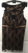 New Gold & Noir Soutien-gorge baleiné Caraco Top & Shorty 34B Sexy Lace slip & Slips