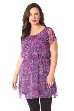 Womens Top Ladies Plus Size Paisley Print Chiffon Mini Dress Elastic Nouvelle Size 18 Purple