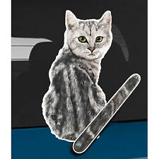 Gray Tabby cat and animal pet rear window wiper sticker 10 inches tall
