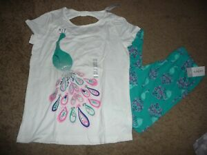 NEW NWT Carters girls size 14 Gorgeous Peacock Leggings and top outfit set