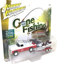 JOHNNY LIGHTNING GONE FISHING JLBT002 1959 FORD F 250 TRUCK with BOAT 1/64 RED