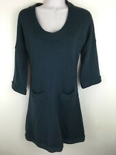 Banana Republic Women's Merino Sweater Dress Teal Shift Pockets Size XS